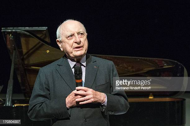 Pierre Berge speaks on stage during a tribute to late fashion designer Yves Saint Laurent at Opera Bastille on June 10 2013 in Paris France