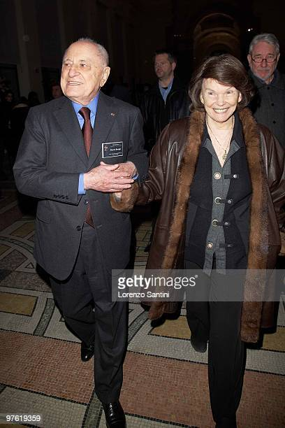 Pierre Berger and Danielle Mitterrand attend the Yves Saint Laurent Exhibition at Le Petit Palais on March 10 2010 in Paris France