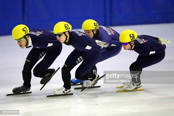 Pierre Boda and Andy Jung of Australia lead a race during the Australian World Cup Short Track Trials on July 27 2017 at Canterbury Olympic Ice Rink...