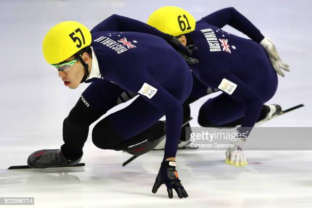 Pierre Boda of Australia leads competitors during the Australian World Cup Short Track Trials on July 27 2017 at Canterbury Olympic Ice Rink in...