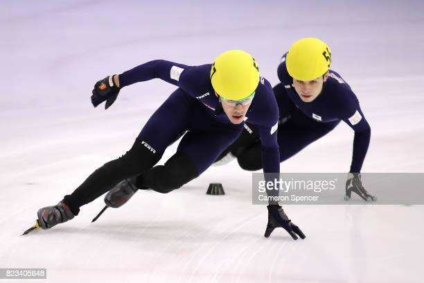 Pierre Boda of Australia leads during the Australian World Cup Short Track Trials on July 27 2017 at Canterbury Olympic Ice Rink in Sydney Australia