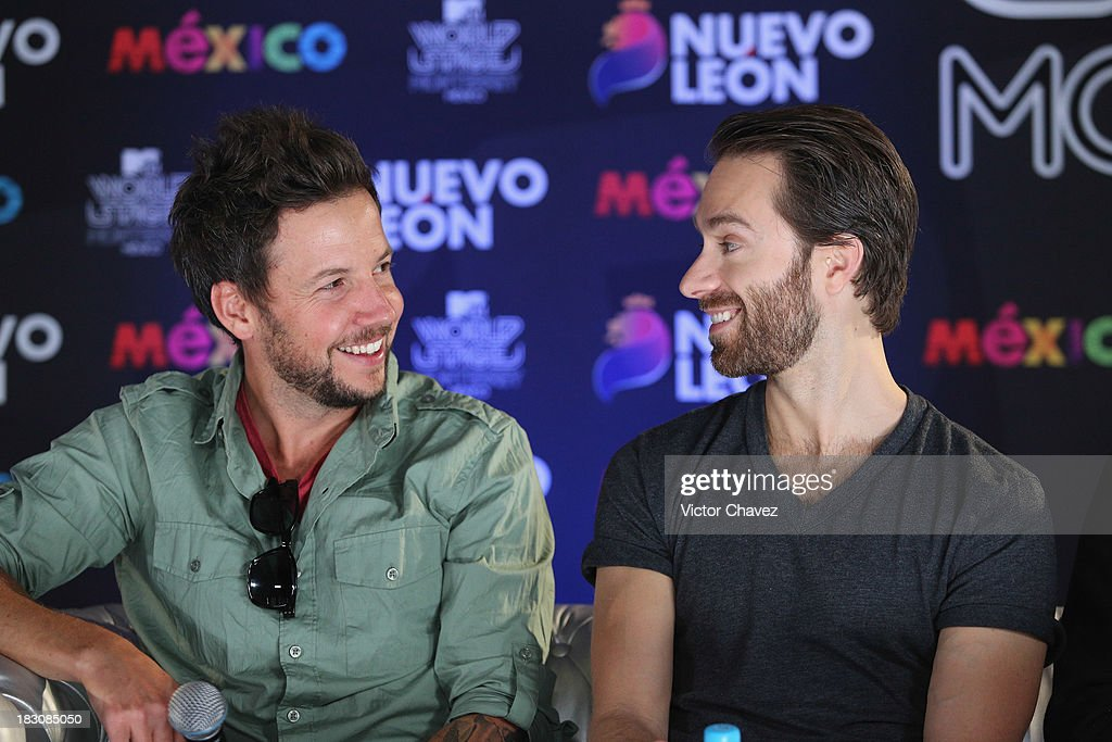 Pierre Bouvier and Sebastien Lefebvre of Simple Plan attend a press conference during the MTV World Stage Monterrey Mexico 2013 at Arena Monterrey on...