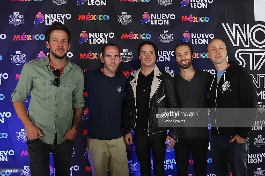 Pierre Bouvier Chuck Comeau David Desrosiers Sebastien Lefebvre Jeff Stinco of Simple Plan attend a press conference during the MTV World Stage...