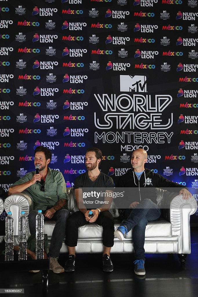 Pierre Bouvier Sebastien Lefebvre and Jeff Stinco of Simple Plan attend a press conference during the MTV World Stage Monterrey Mexico 2013 at Arena...