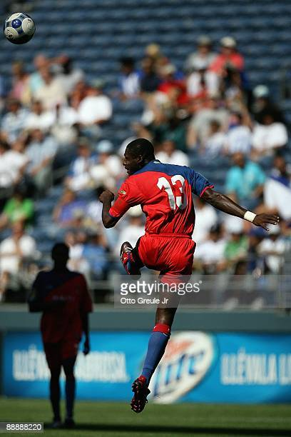 Pierre Bruny of Haiti heads the ball against Honduras during the 2009 CONCACAF Gold Cup game on July 4 2009 at Qwest Field in Seattle Washington