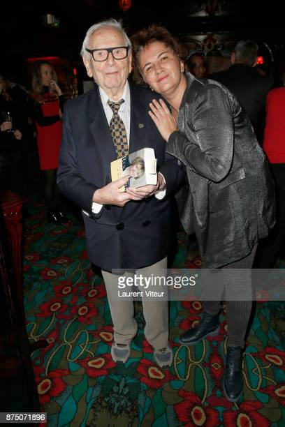 Pierre Cardin and actress and Lyric Singer Veronique Fourcaud attend Eve Ruggieri signing copies of her book 'Dictionnaire Amoureux de Mozart' at...