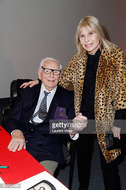 Pierre Cardin and Candice Patou attend has the signature of the book 'Espace Cardin' by JeanPascal Hesse at Espace Pierre Cardin on March 14 2016 in...