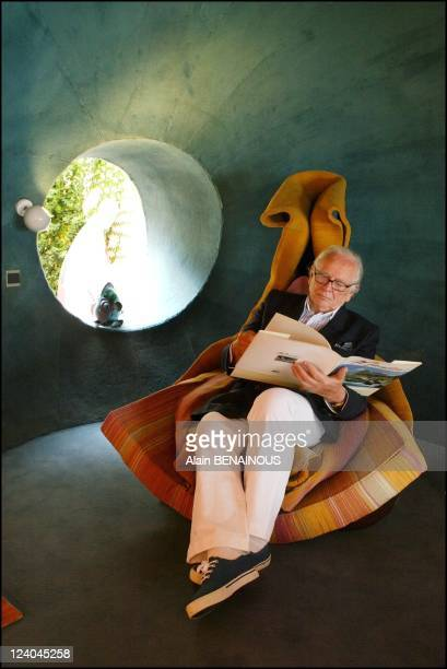 Pierre Cardin celebrates his 80th birthday and 50 years of fashion designing In France In May 2003 Cardin sitting in an armchair by Claude Prevost