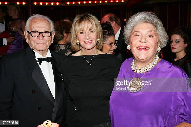 Pierre Cardin with Eve Ruggieri and Philippine de Rothschild attend the musical 'Cabaret' opening night at The Folies Bergere on October 26 2006 in...