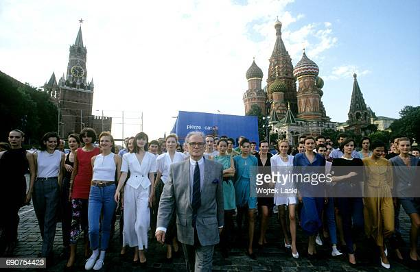 Pierre Cardin with models from his fashion show at the Red Square in Moscow Russia in June 1991