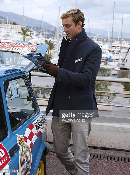 Pierre Casighari son of Princess Caroline of Hanover leaves in the 'Autobianchi A112 Abarth' at the special meeting place for the 17th edition of the...