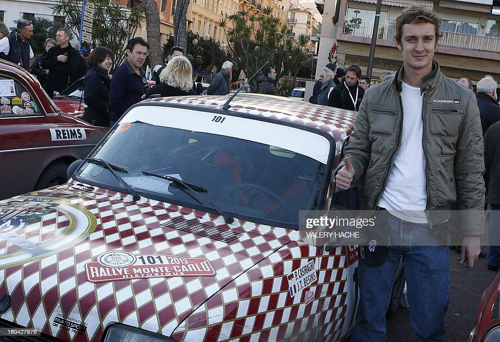 Pierre Casighari, son of Princess Caroline of Hanover poses beside his vehicle at the special arrival of the 16th edition of the Monte-Carlo Historic Rally in Monaco on January 31, 2013. In keeping with tradition, competitors may choose their starting point from several cities, subject to numbers: Warsaw, Copenhagen, Glasgow, Rheims, Barcelona or Monte Carlo.
