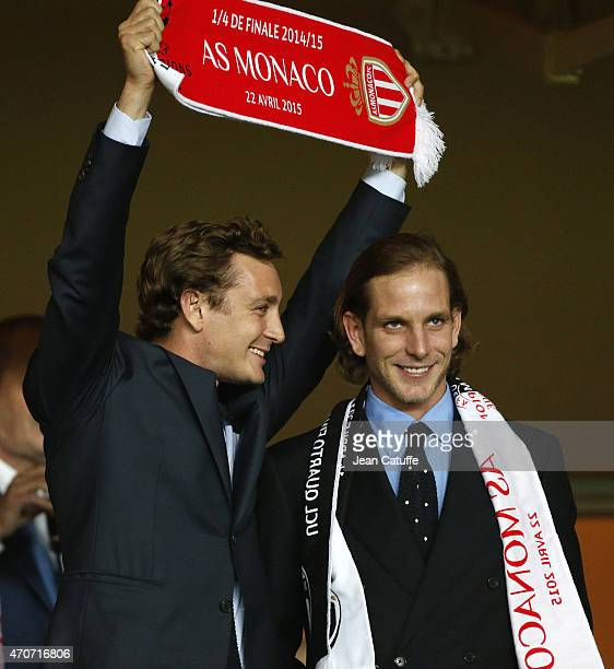 Pierre Casiraghi and Andrea Casiraghi attend the UEFA Champions League quarterfinal second leg match between AS Monaco FC and Juventus at Stade Louis...