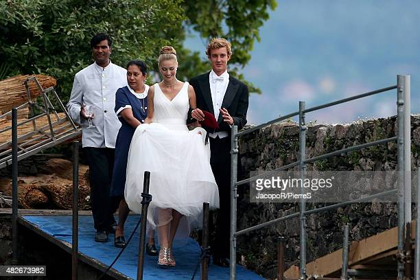 Pierre Casiraghi and Beatrice Boromeo leave Isola Madre to attend their wedding party on August 1 2015 in Stresa Italy