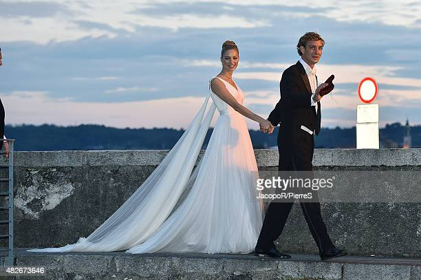 Pierre Casiraghi and Beatrice Borromeo are seen on August 1 2015 in ANGERA Italy