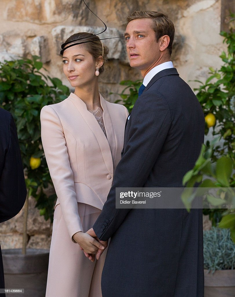 Pierre Casiraghi and <a gi-track='captionPersonalityLinkClicked' href=/galleries/search?phrase=Beatrice+Borromeo&family=editorial&specificpeople=618098 ng-click='$event.stopPropagation()'>Beatrice Borromeo</a> attend the Religious Wedding of Prince Felix of Luxembourg and Claire Lademacher at Basilique Sainte Marie-Madeleine on September 21, 2013 in Saint-Maximin-La-Sainte-Baume, France.
