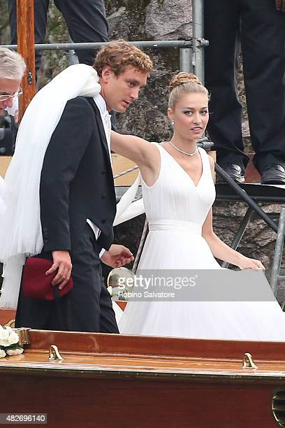 Pierre Casiraghi and Beatrice Borromeo leave Isola Madre to attend their Wedding Ceremony on August 1 2015 in Stresa Italy
