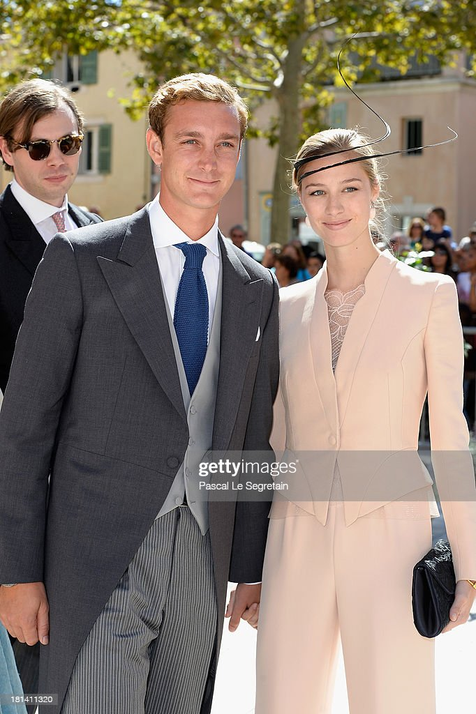 <a gi-track='captionPersonalityLinkClicked' href=/galleries/search?phrase=Pierre+Casiraghi&family=editorial&specificpeople=238946 ng-click='$event.stopPropagation()'>Pierre Casiraghi</a> and girlfriend <a gi-track='captionPersonalityLinkClicked' href=/galleries/search?phrase=Beatrice+Borromeo&family=editorial&specificpeople=618098 ng-click='$event.stopPropagation()'>Beatrice Borromeo</a> attend the Religious Wedding Of Prince Felix Of Luxembourg and Claire Lademacher at the Basilique Sainte Marie-Madeleine on September 21, 2013 in Saint-Maximin-La-Sainte-Baume, France.