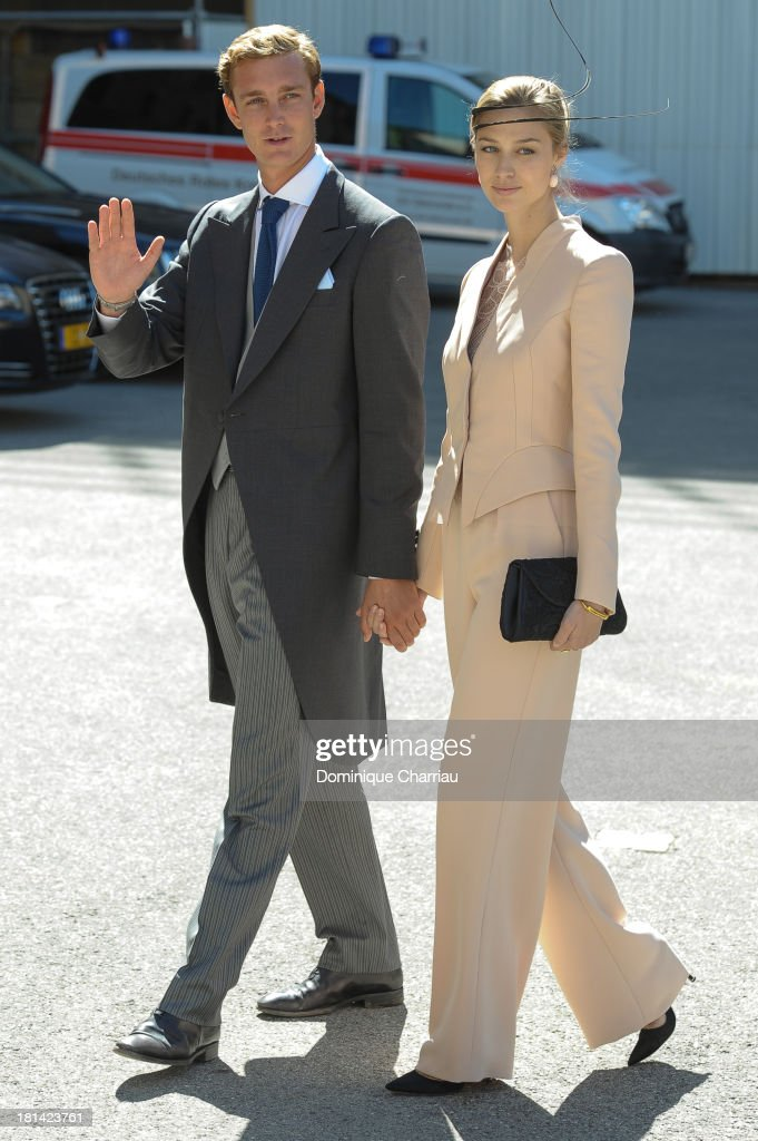 Pierre Casiraghi and girlfriend <a gi-track='captionPersonalityLinkClicked' href=/galleries/search?phrase=Beatrice+Borromeo&family=editorial&specificpeople=618098 ng-click='$event.stopPropagation()'>Beatrice Borromeo</a> attend the Religious Wedding Of Prince Felix Of Luxembourg and Claire Lademacher at Basilique Sainte Marie-Madeleine on September 21, 2013 in Saint-Maximin-La-Sainte-Baume, France.