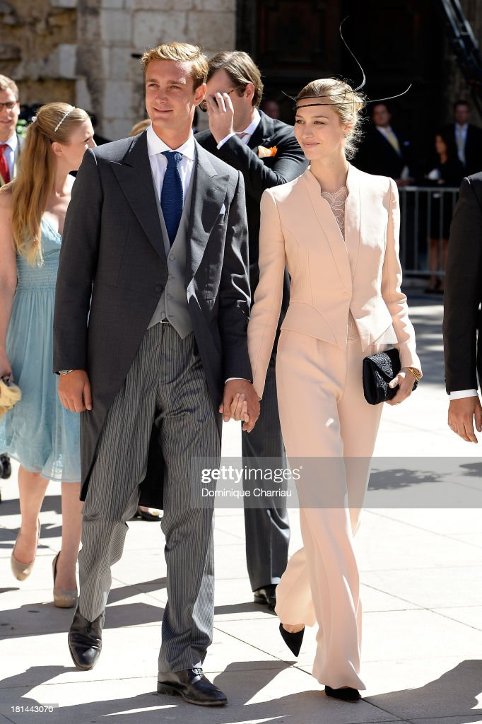 Pierre Casiraghi and girlfriend Beatrice Borromeo attend the Religious Wedding Of Prince Felix Of Luxembourg and Claire Lademacher at Basilique Sainte Marie-Madeleine on September 21, 2013 in Saint-Maximin-La-Sainte-Baume, France.