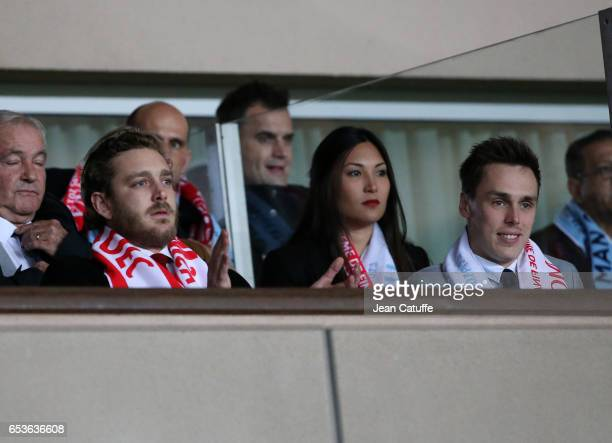 Pierre Casiraghi and Louis Ducruet attend the UEFA Champions League Round of 16 second leg match between AS Monaco and Manchester City FC at Stade...