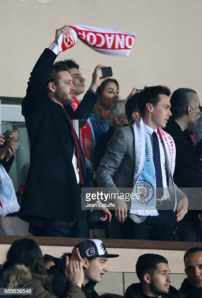Pierre Casiraghi and Louis Ducruet celebrate the second goal of Monaco during the UEFA Champions League Round of 16 second leg match between AS...