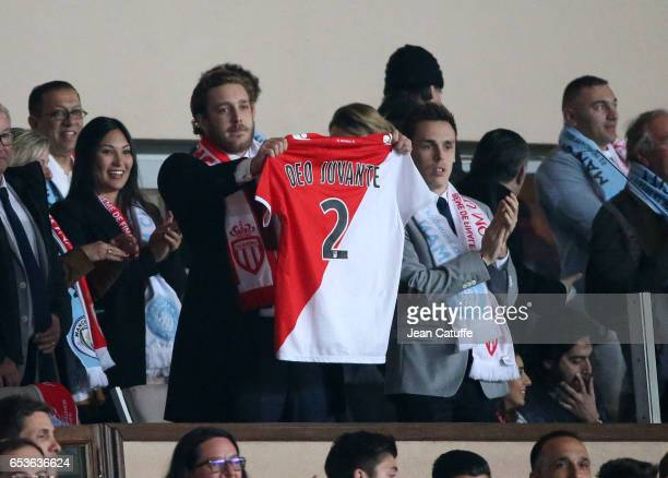 Pierre Casiraghi and Louis Ducruet celebrate the third goal of Monaco during the UEFA Champions League Round of 16 second leg match between AS Monaco...