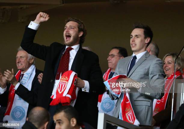 Pierre Casiraghi and Louis Ducruet celebrate the victory following the UEFA Champions League Round of 16 second leg match between AS Monaco and...