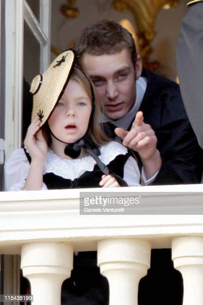 Pierre Casiraghi and Princess Alexandra of Hanover watch from a balcony the Army Parade as part of Monaco's National Day celebrations on November 19...