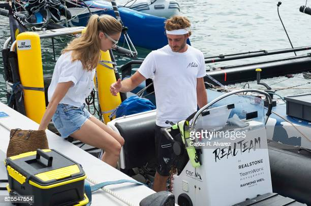 Pierre Casiraghi and wife Beatrice Borromeo are seen during the 36th Copa Del Rey Mafre Sailing Cup on August 2 2017 in Palma de Mallorca Spain