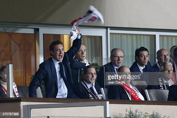 Pierre Casiraghi Andrea Casiraghi and Prince Albert II of Monaco attend the UEFA Champions League Quarter Final second leg match between AS Monaco FC...