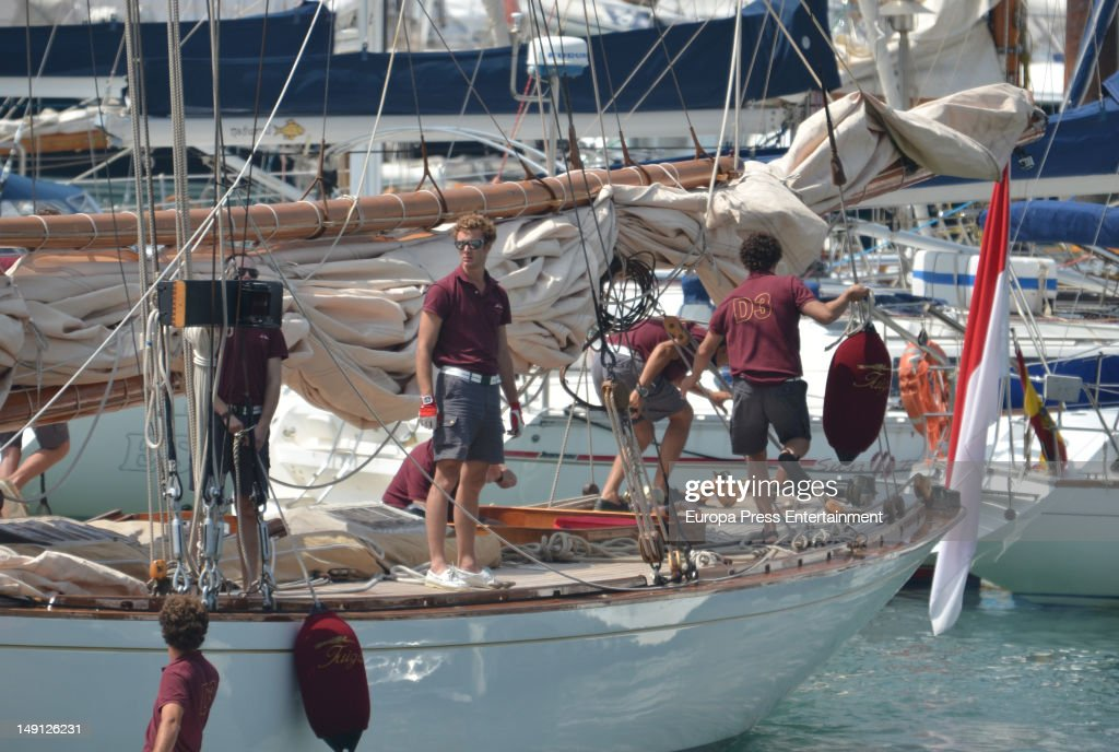 <a gi-track='captionPersonalityLinkClicked' href=/galleries/search?phrase=Pierre+Casiraghi&family=editorial&specificpeople=238946 ng-click='$event.stopPropagation()'>Pierre Casiraghi</a> (L) attends Classic Sailing Week at Puerto Sherry on July 23, 2012 in Cadiz, Spain. Pierre will take part at the sailing on board of 'Tuiga' boat built at XIX Century and belonging to Prince Albert of Monaco