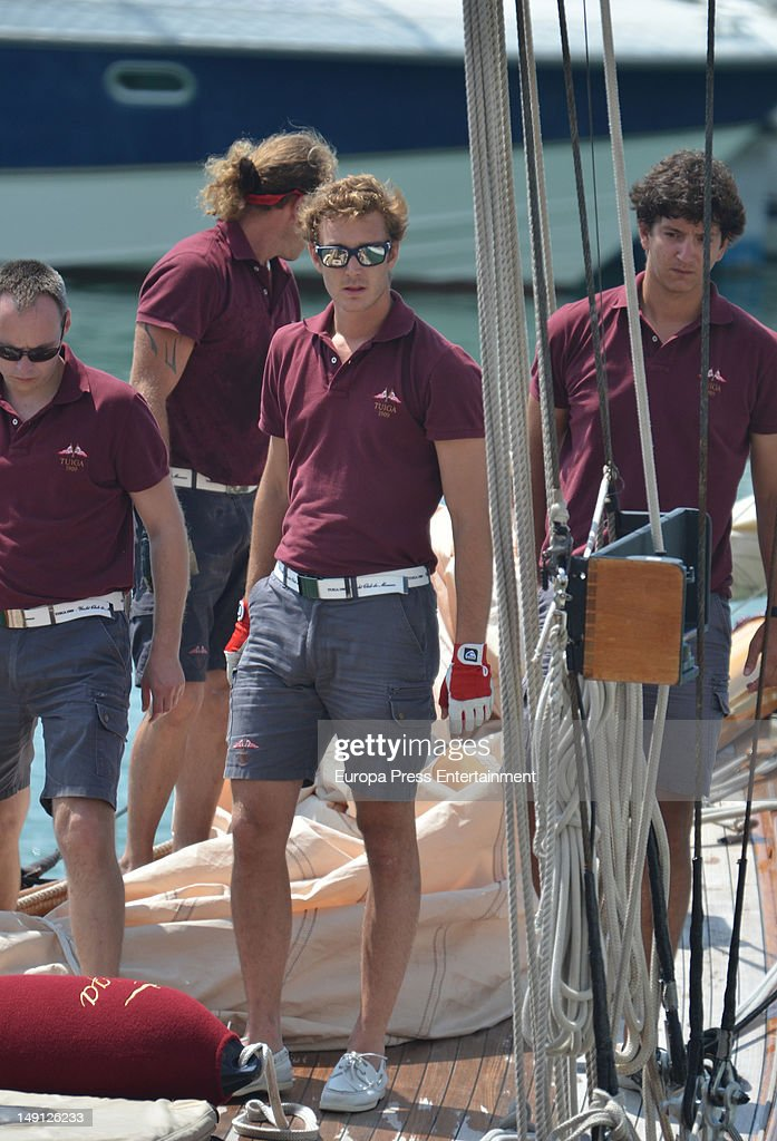 <a gi-track='captionPersonalityLinkClicked' href=/galleries/search?phrase=Pierre+Casiraghi&family=editorial&specificpeople=238946 ng-click='$event.stopPropagation()'>Pierre Casiraghi</a> (3L) attends Classic Sailing Week at Puerto Sherry on July 23, 2012 in Cadiz, Spain. Pierre will take part at the sailing on board of 'Tuiga' boat built at XIX Century and belonging to Prince Albert of Monaco
