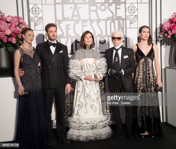 Pierre Casiraghi Beatrice Casiraghi Princess Caroline of Hanover Karl Lagerfeld and Charlotte Casiraghi attend the Rose Ball 2017 Secession Viennoise...