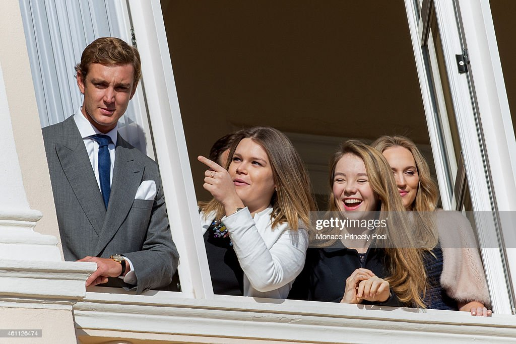 Pierre Casiraghi, Camille Gotlieb, Princess Alexandra of Hanover and Roysin Galvin attend on the official presentation of the Monaco twins on the balcony of the Monaco Palace on January 7, 2015 in Monaco, Monaco.