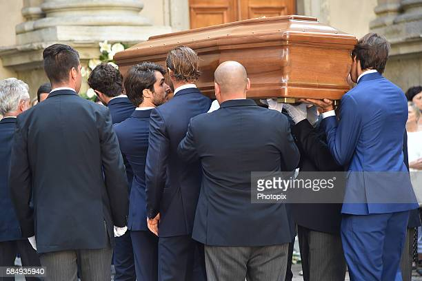 Pierre Casiraghi Carlo Borromeo and relatives carry the coffin at Marta Marzotto funeral at chruch of Sant'Angelo on August 1 2016 in Milan Italy