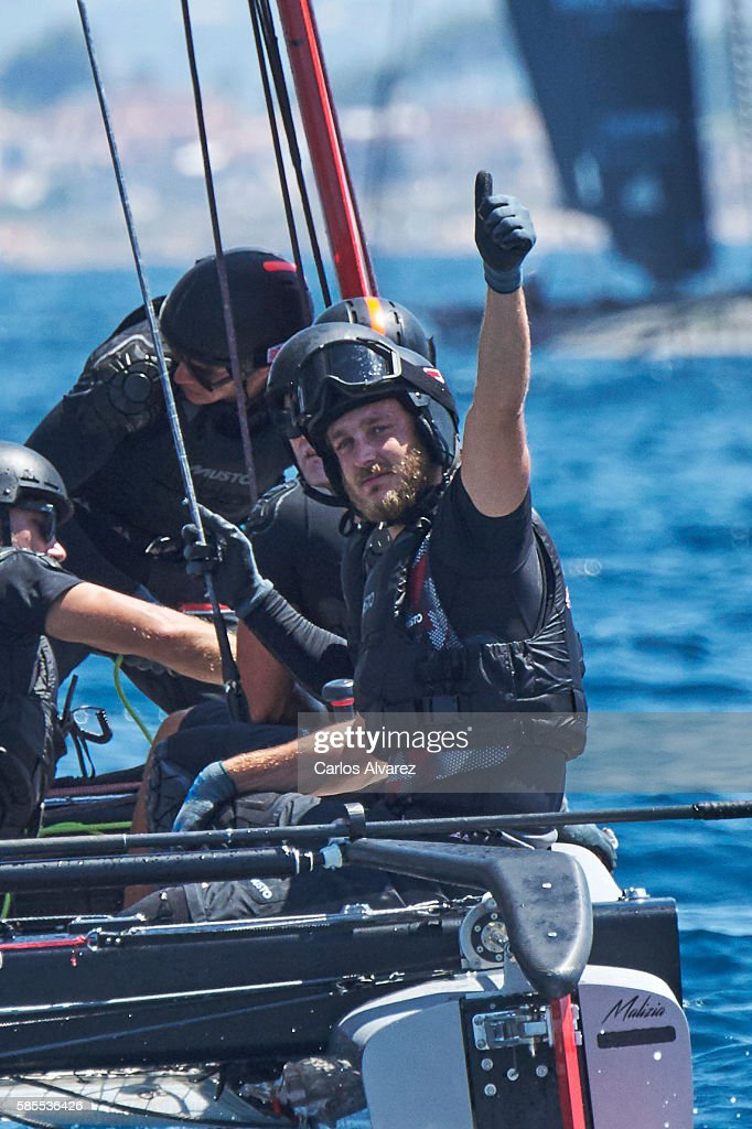 Pierre Casiraghi onboard of Malizia during the 35th Copa Del Rey Mafre Sailing Cup on August 3, 2016 in Palma de Mallorca, Spain.