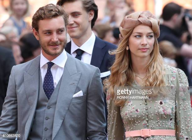 Pierre Casiraghi son of Princess Caroline of Hanover his wife Beatrice arrive for the church wedding of Prince Ernst August of Hanover and Ekaterina...