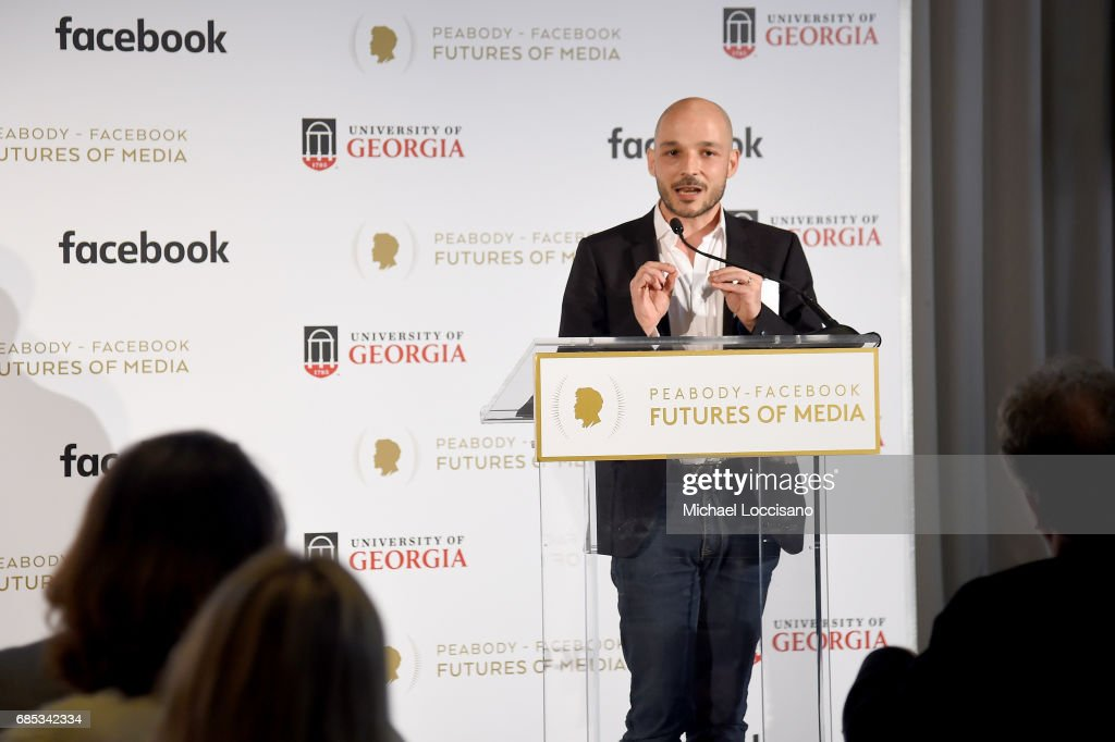 Pierre Cattan accepts an award onstage on behalf of Phallaina at the Peabody-Facebook Futures Of Media Awards at Hotel Eventi on May 19, 2017 in New York City.