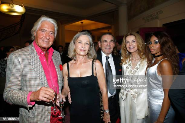Pierre Cornette de SaintCyr his wife Michel Corbiere Cyrielle Clair and Mia Frye attend the 25th 'Gala de l'Espoir' at Theatre des ChampsElysees on...