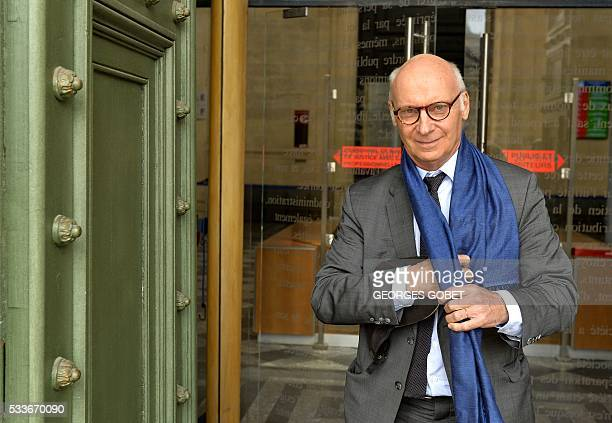 Pierre CornutGentille lawyer of french photographer FrancoisMarie Banier leaves the Bordeaux's courthouse on May 23 2016 after morning hearings...