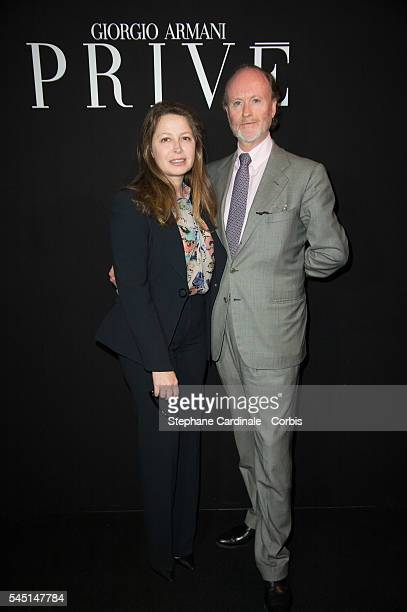 Pierre D'Arenberg and guest attend the Giorgio Armani Prive Haute Couture Fall/Winter 20162017 show as part of Paris Fashion Week on July 5 2016 in...