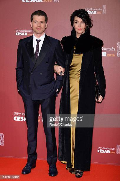 Pierre Deladonchamps and Zabou Breitman arrive at The Cesar Film Awards 2016 at Theatre du Chatelet on February 26 2016 in Paris France