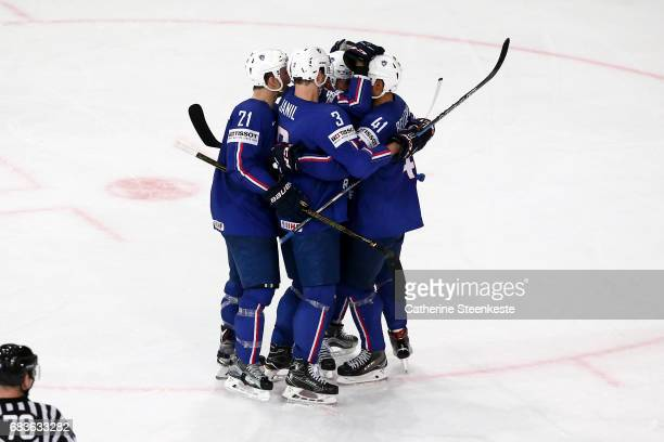 Pierre Edouard Bellemare of France celebrates his goal with his teammates during the 2017 IIHF Ice Hockey World Championship game between France and...