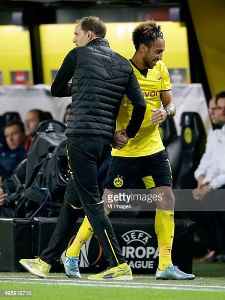 Pierre Emerick Aubameyang of Borussia Dortmund coach Thomas Tuchel of Borussia Dortmund during the Europa League group C match between Borussia...
