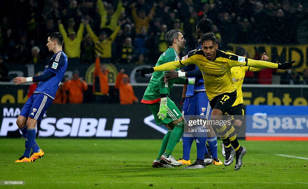 Pierre Emerick Aubameyang of Dortmund celebrates after scoring his teams first goal during the Bundesliga match between Borussia Dortmund and FC Ingolstadt at Signal Iduna Park on January 30, 2016 in Dortmund, Germany.