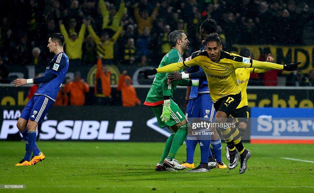 Pierre Emerick Aubameyang of Dortmund celebrates after scoring his teams first goal during the Bundesliga match between Borussia Dortmund and FC...