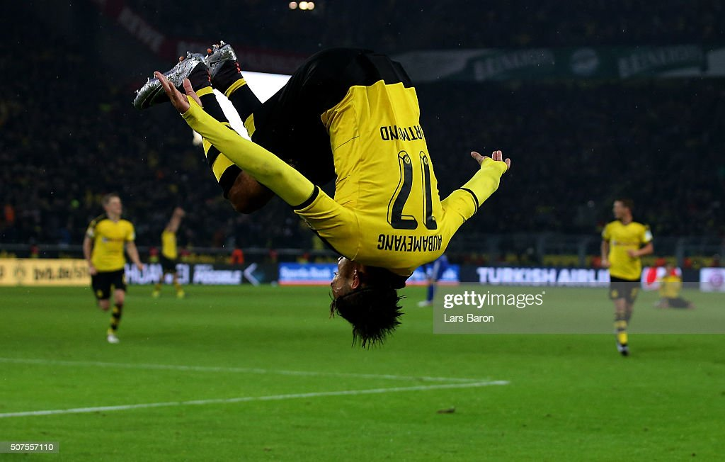 Pierre Emerick Aubameyang of Dortmund celebrates after scoring his teams second goal during the Bundesliga match between Borussia Dortmund and FC Ingolstadt at Signal Iduna Park on January 30, 2016 in Dortmund, Germany.