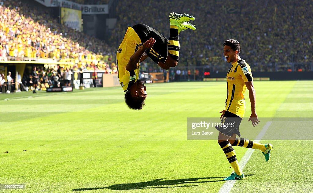Pierre Emerick Aubameyang of Dortmund celebrates after scoring his teams first goal during the Bundesliga match between Borussia Dortmund and 1 FSV...