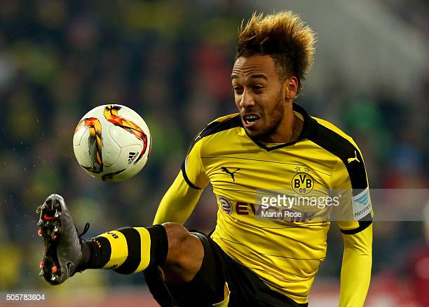 Pierre Emerick Aubameyang of Dortmund controlls the ball during the friendly match between Borussia Dortmund and Sparta Prague at at Stadium Essen on...